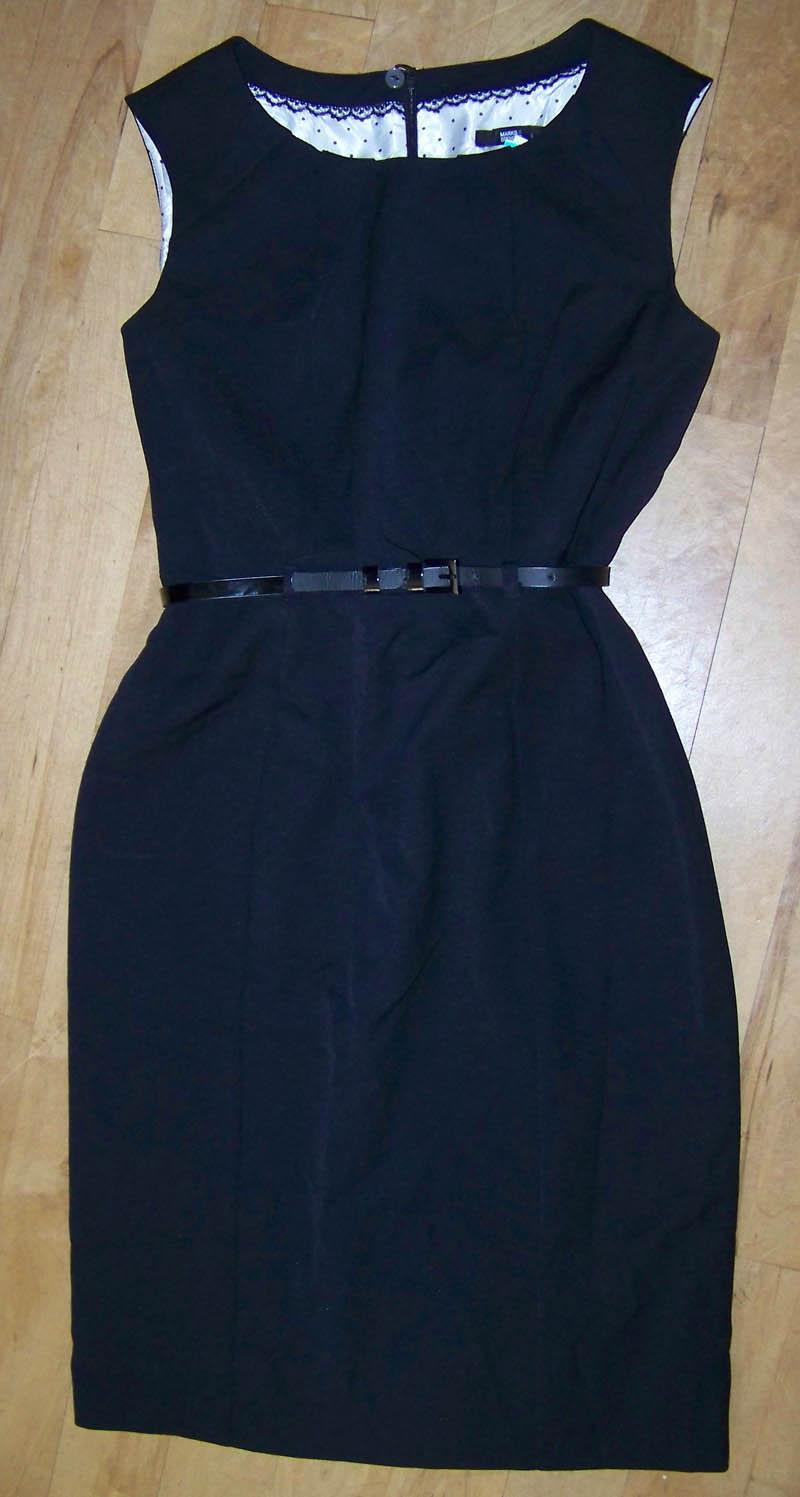 brand new womens m s black shift dress belt size 14 rrp
